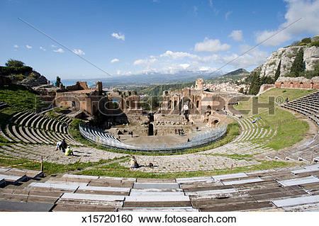 Stock Photography of Italy, Sicily, Taormina, Greek Theatre.