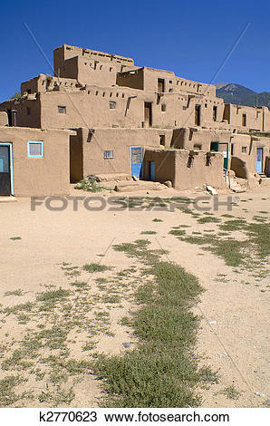 Stock Photo of Adobe Houses in the Pueblo of Taos, New Mexico, USA.