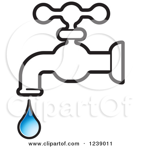 Clipart of a Dripping Black and White Faucet and Blue Droplet.