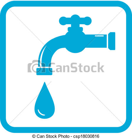 Vector Clip Art of icon with tap. water symbol.