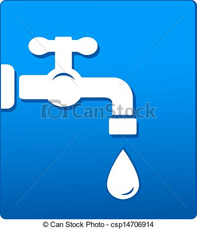 Clipart of tap and drop on blue background.
