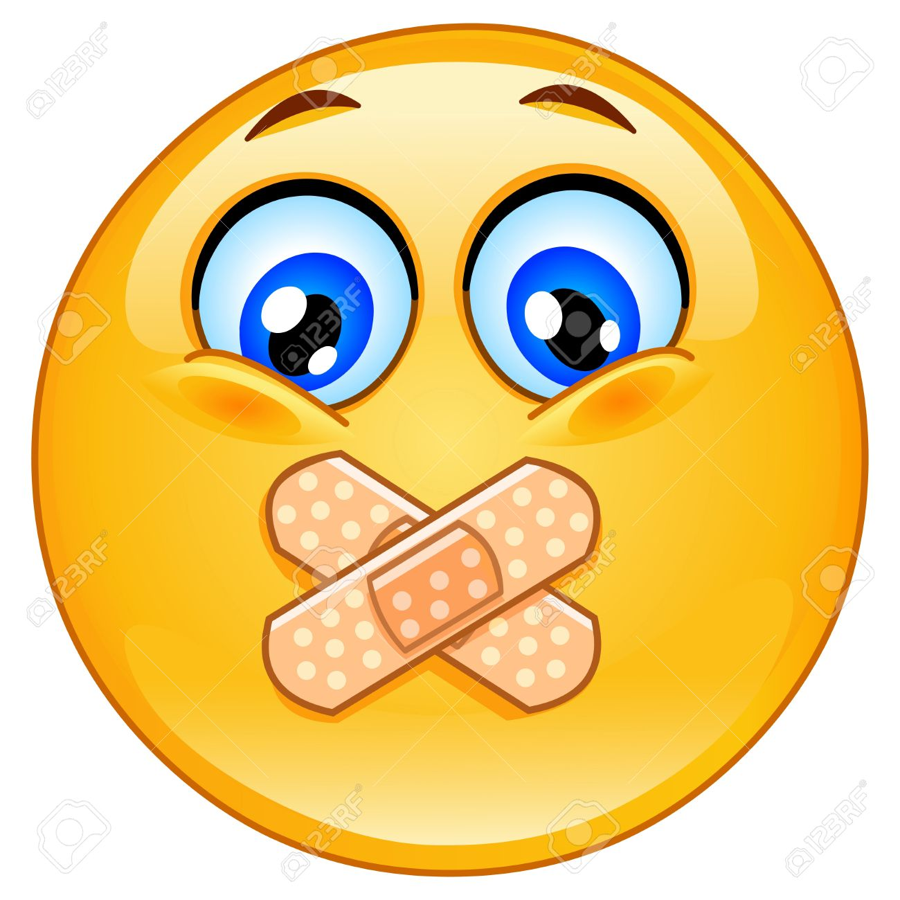 Emoticon With Adhesive Bandages Over His Lips Royalty Free.