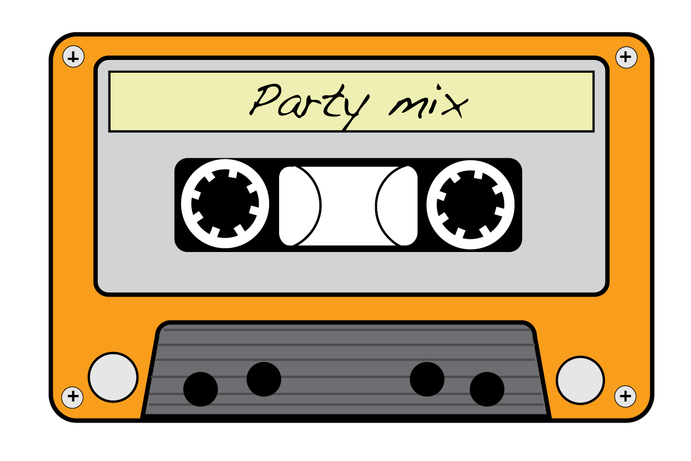 neon 80s cassette tapes clipart.
