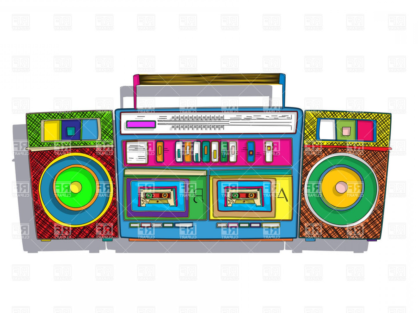 Vintage Stereo Double Tape Cassette Player Pop Art Boombox.