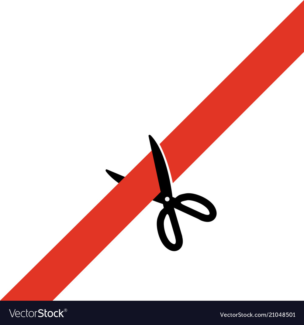 Scissors cut the red tape simply schematically.