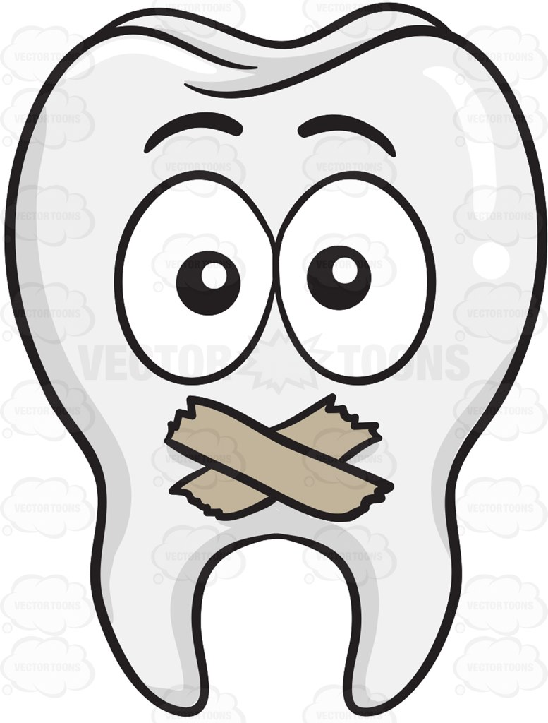 Tooth With Taped Mouth Cartoon Clipart.