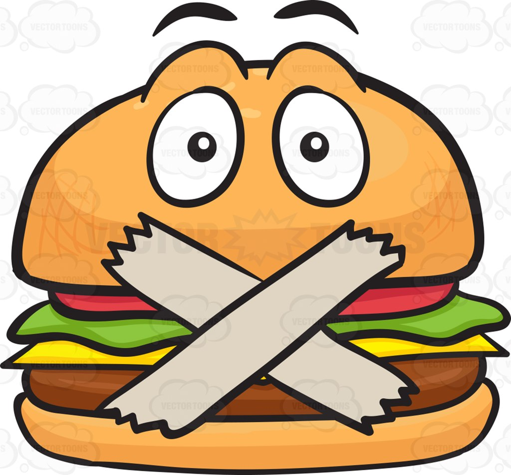 Cheeseburger With Taped Mouth Cartoon Clipart.
