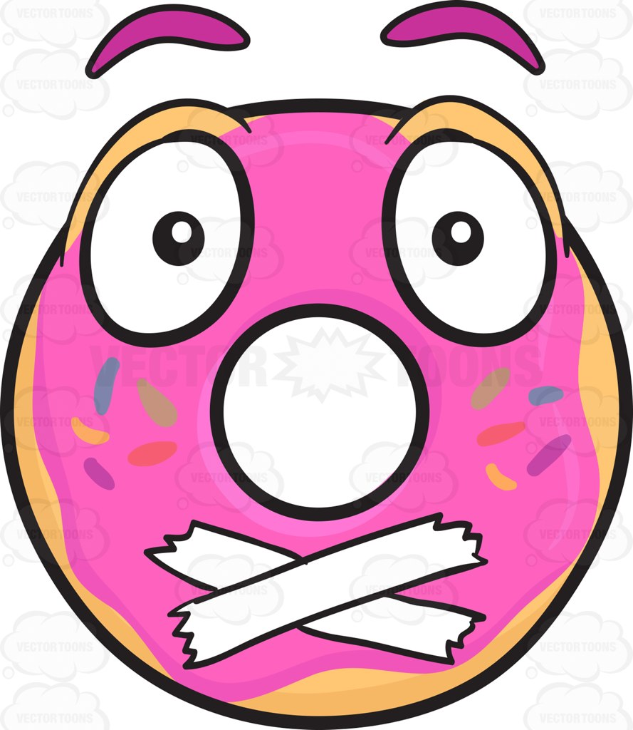Donut With Taped Mouth Emoji Cartoon Clipart.