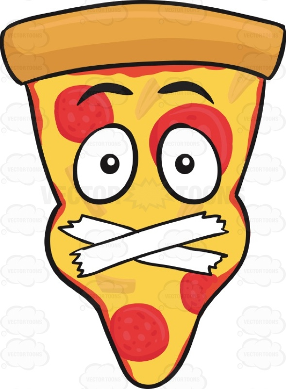 Slice Of Pepperoni Pizza Face With Taped Mouth Emoji Cartoon Clipart.