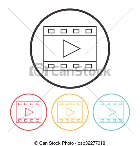 Vector Clip Art of video tape line icon csp32277018.