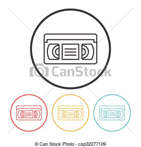 Vector Clipart of video tape line icon csp32277109.