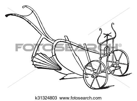 Drawing of Moldboard plow tapered, fluted, rotating, vintage.