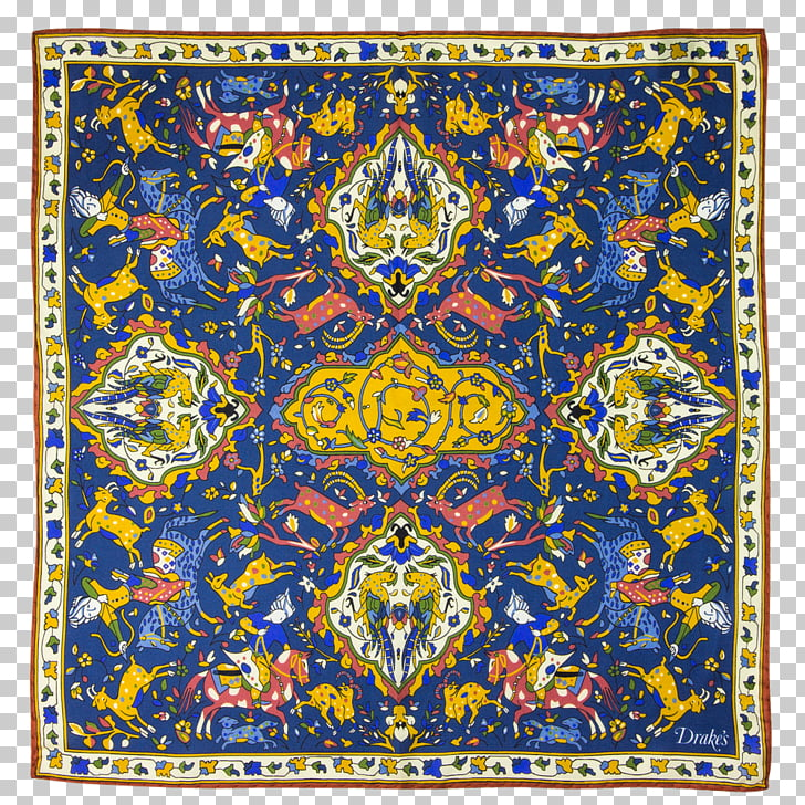 Tapestry Symmetry Pattern, Watercolor navy PNG clipart.