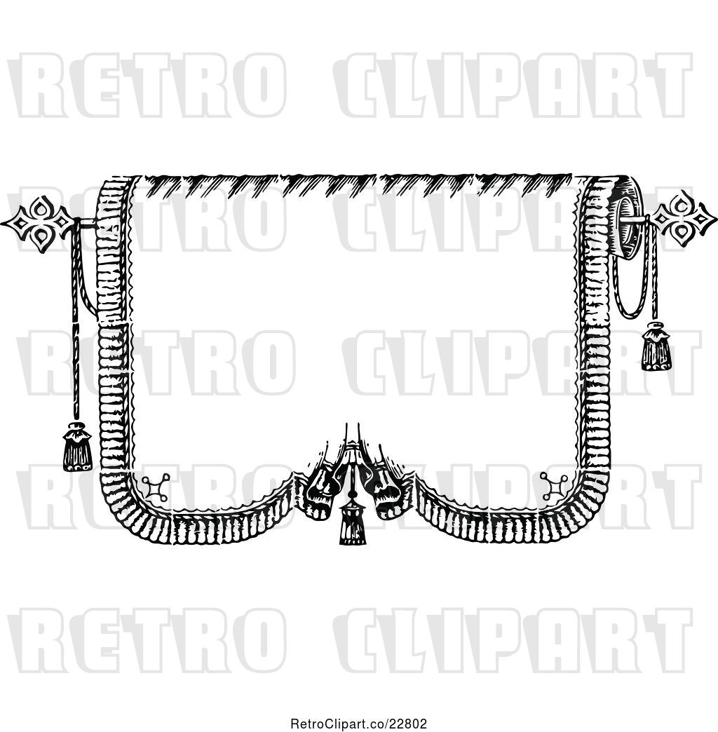 Vector Clip Art of Retro Blank Tapestry Banner with.