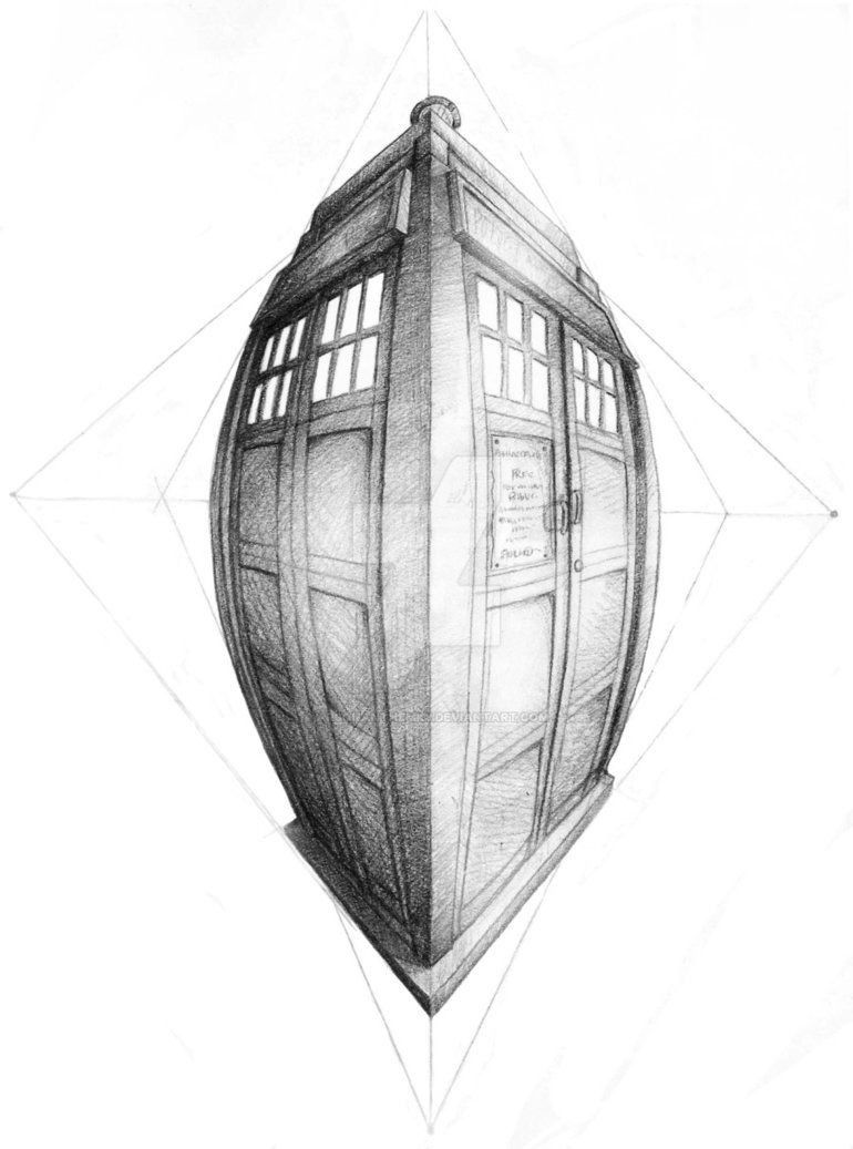 TARDIS in Four Point Perspective by ArsonAnthemKJ in 2019.