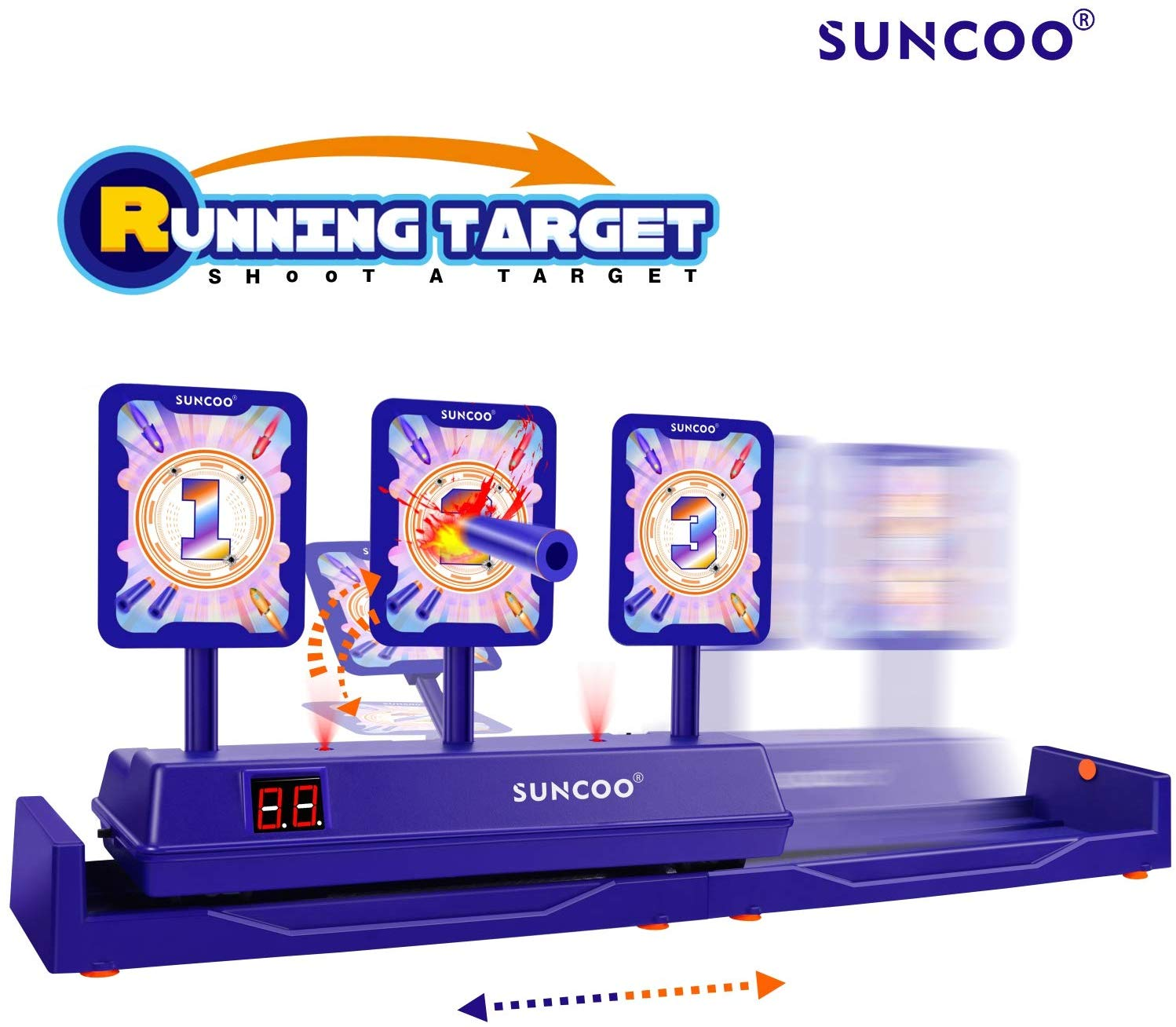 SUNCOO Running Targets Shooting Electronic Scoring Auto Reset Digital  Targets for Nerf Guns Toys,Ideal Gift Toy(2019 New Version).