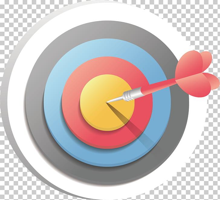 Color target , red dart pin on dart bullseye illustration.