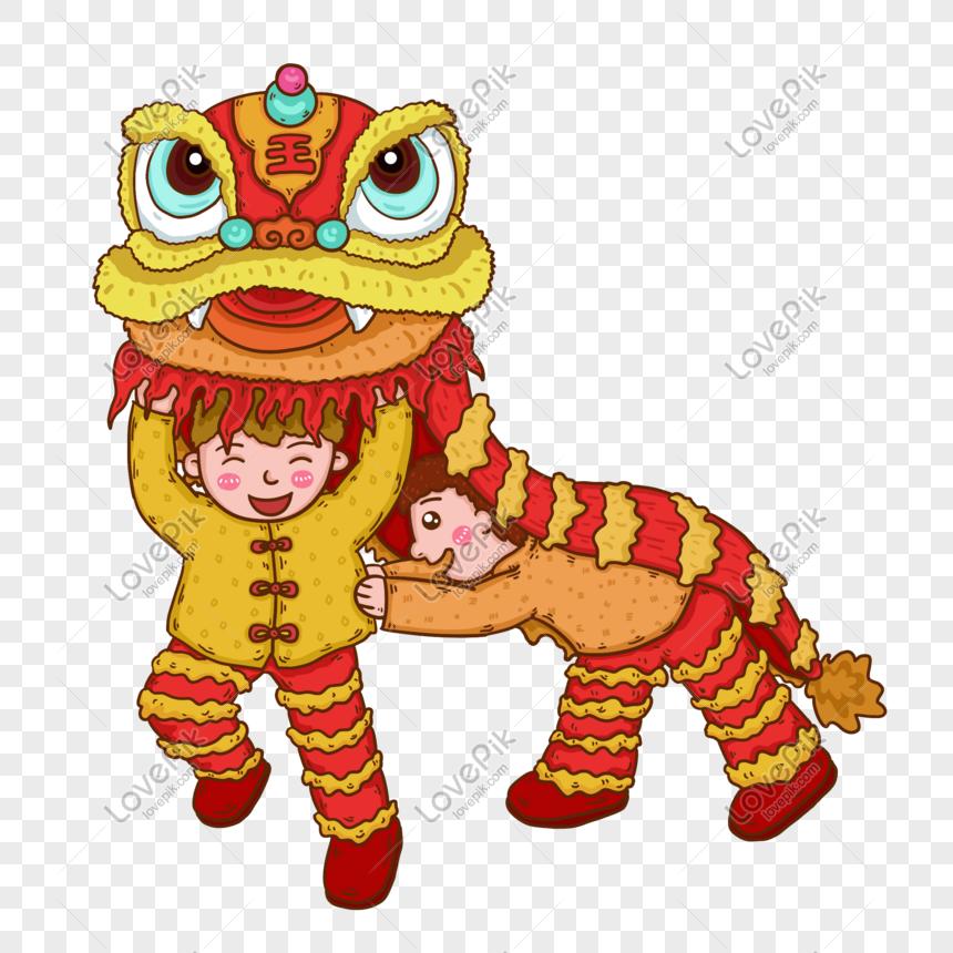 2019 tahun baru imlek anak tari singa png peta gratis gambar.