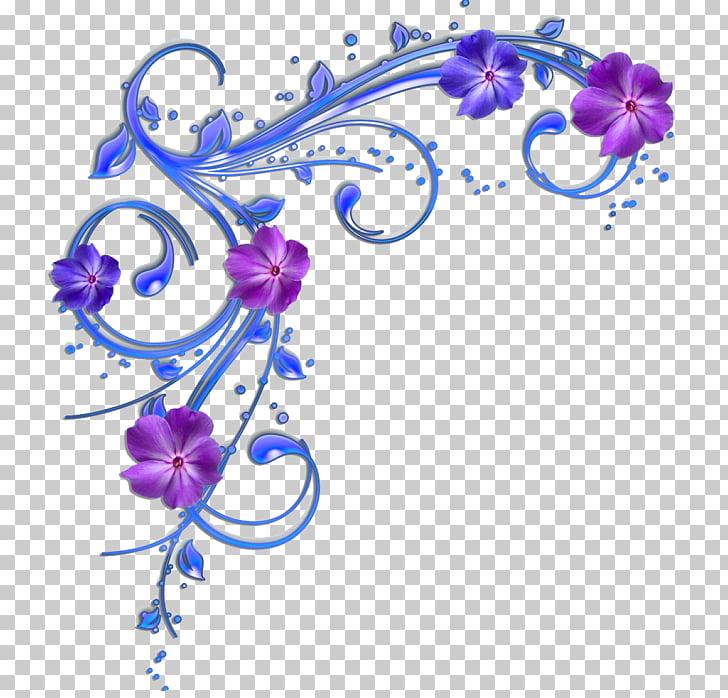 Bordes y marcos azul flor morada, morado. PNG Clipart.