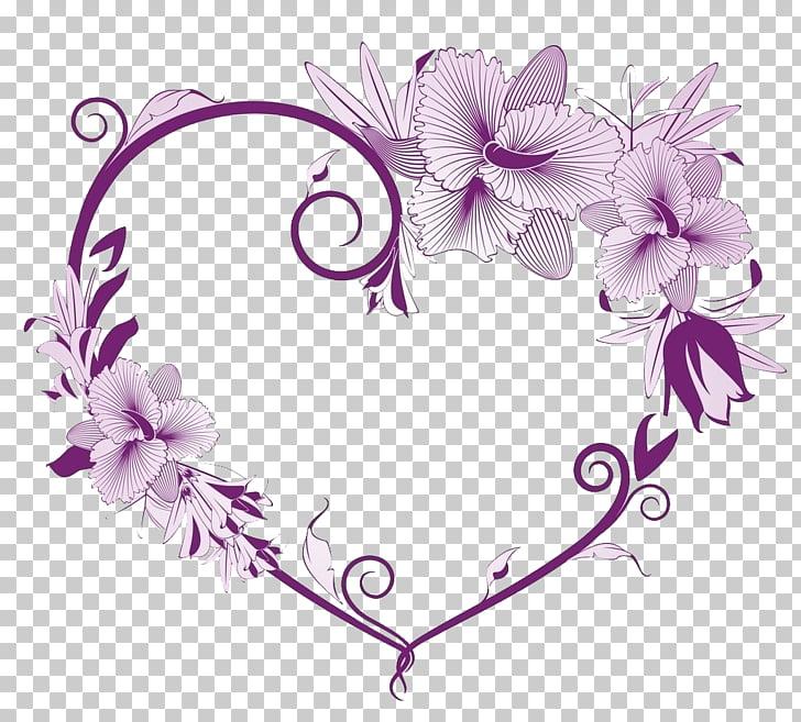 Flores moradas, corazón, borde del corazón PNG Clipart.