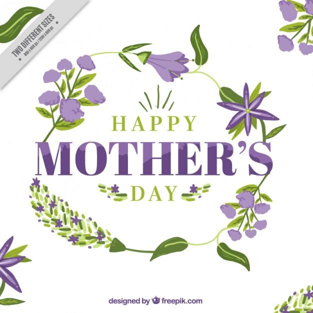 Tarjeta del día de la madre con flores moradas y hojas.