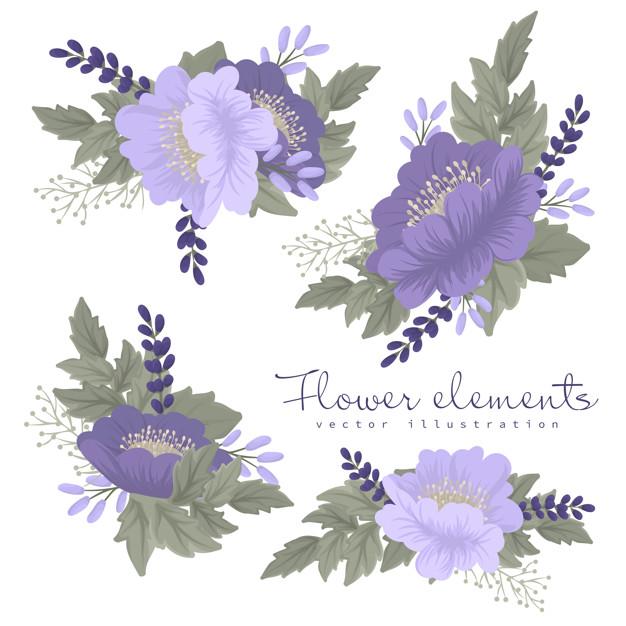 Flores clipart moradas y violetas.