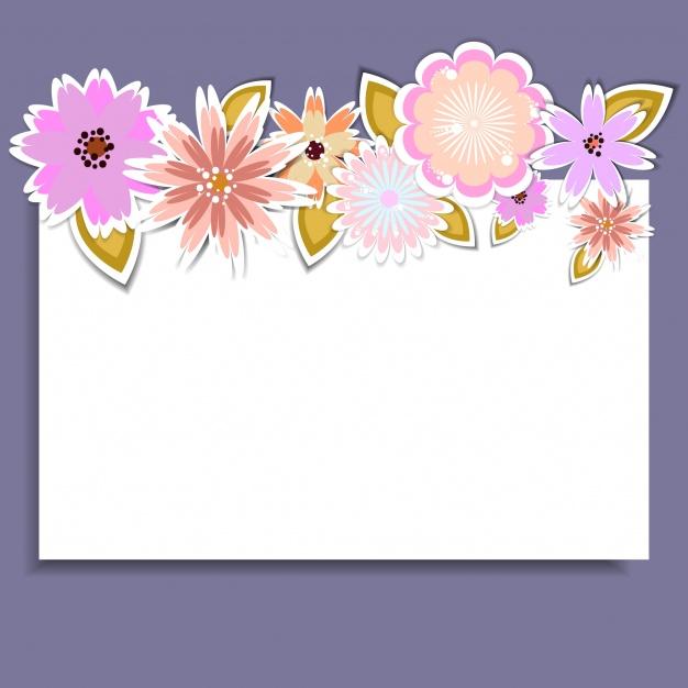 Tarjeta blanca y morada con flores.