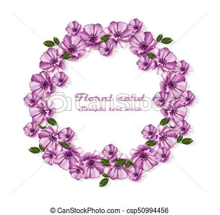 Flores púrpura coronan ilustraciones de marco de tarjeta.