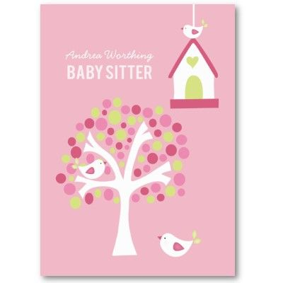 Baby Sitter Sitting Birds Business Card Template.