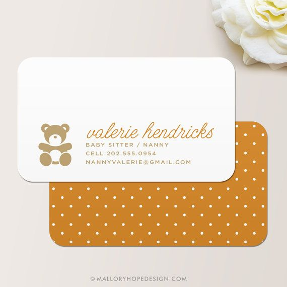 Nanny or Babysitter Square Business Card / Calling Card.