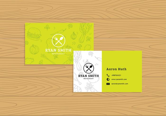 Name Card Restaurant Template Free Vector.