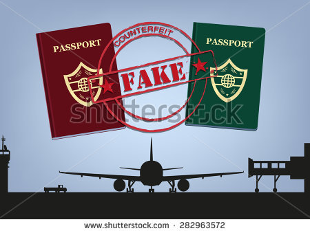 Fake Passports And Airplane In Airport Tarmac Silhouette. Editable.