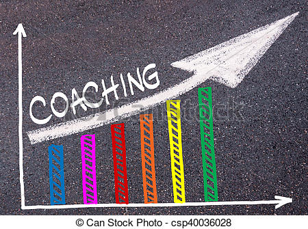 Clip Art of Colorful graph drawn over tarmac and directional arrow.