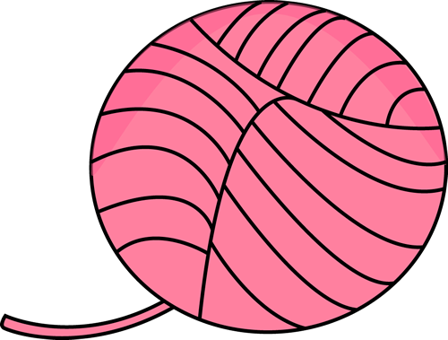 Pink Ball of Yarn Clip Art.