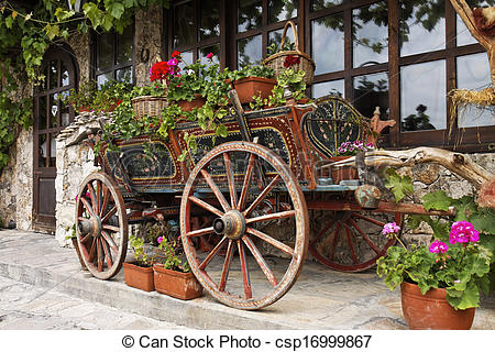 Stock Image of Ox Cart with Flowers in Veliko Tarnovo Bulgaria.