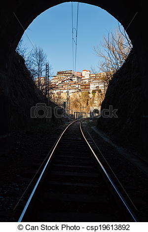 Stock Illustration of View of city Veliko Tarnovo rail tunnel.