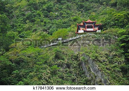 Stock Images of Red Changchun shrine in Taroko Gorge, Hualien.