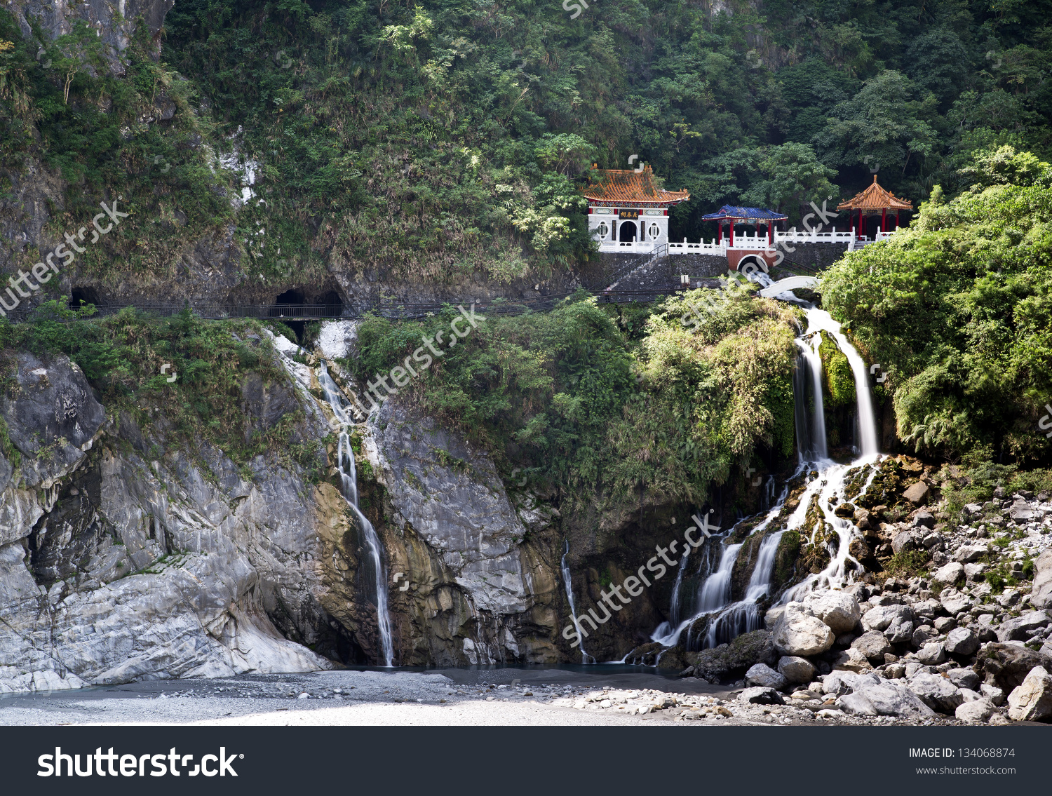 Taiwan Taroko National Park Landscape Stock Photo 134068874.