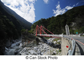 Stock Photo of A Suspension Footbridge crossing Taroko Gorge.