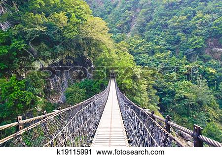Stock Photography of A Suspension Footbridge crossing Taroko Gorge.