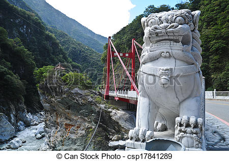 Pictures of Marble Chinese lion statue at Taroko Gorge Taiwan.