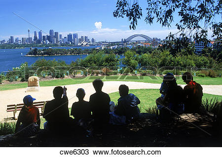 Stock Photo of Children and parents at Taronga Zoo with Opera.