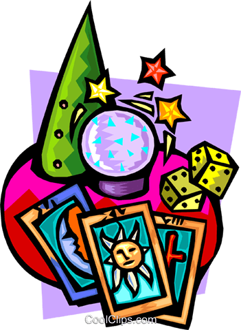 Crystal ball with tarot cards and dice Royalty Free Vector Clip.