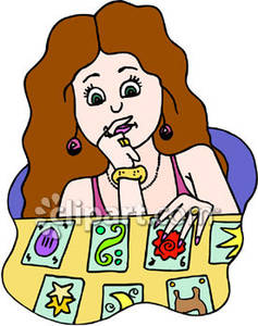 Reading Tarot Cards Royalty Free Clipart Picture.