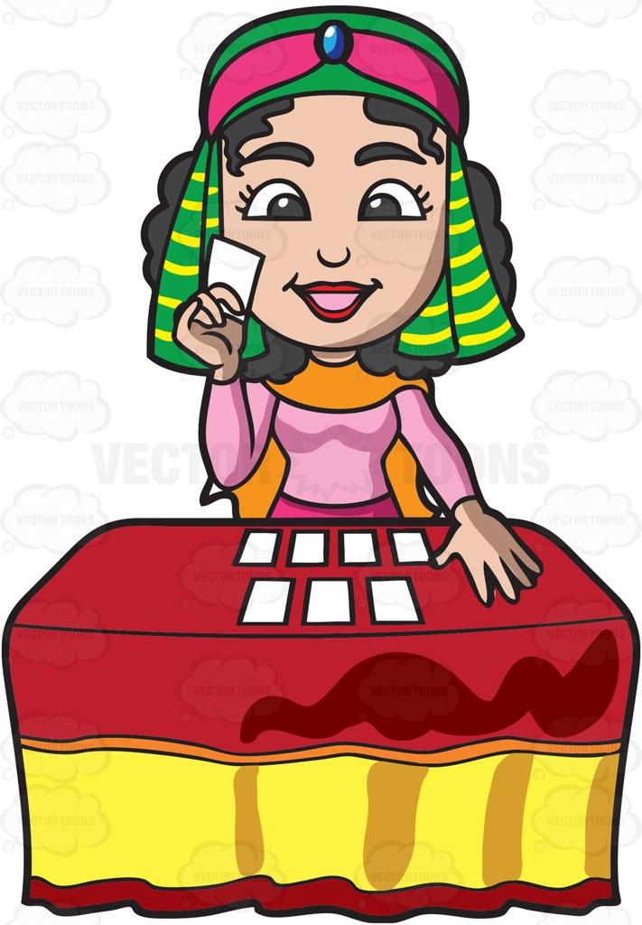 A Fortune Teller Reading Tarot Cards Cartoon Clipart.