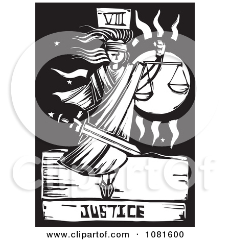 Clipart of the Magician Tarot Card Black and White Woodcut.