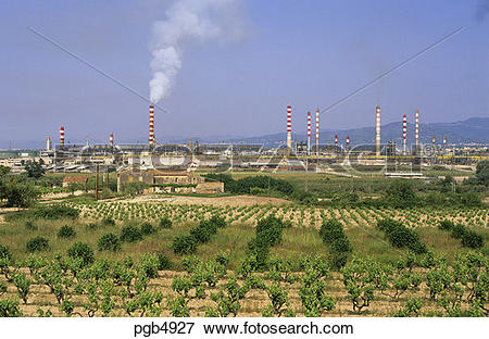 Picture of Oil refinery at Tarragona, Catalonia/Catalunya, Spain.