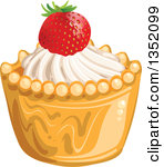 Clipart of Cupcakes or Tarts with Frosting, Strawberries and a.