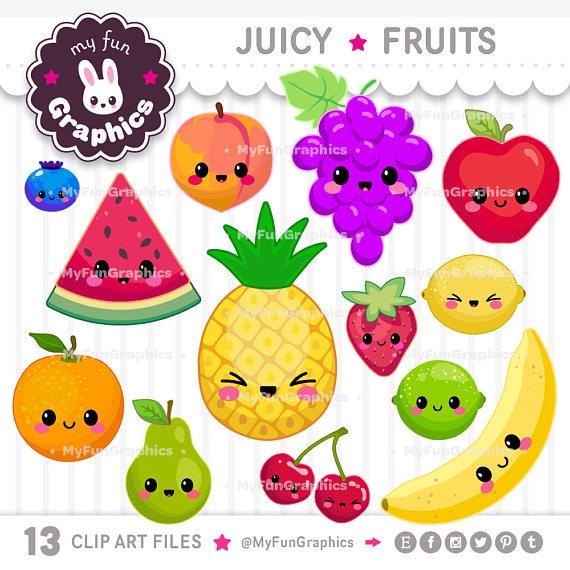 Juicy Fruits Kawaii Clip Art, Fruits Cute Clipart, Cute.