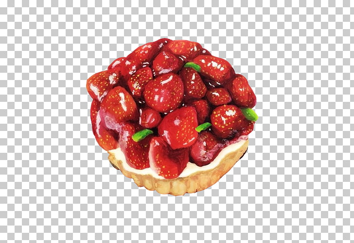 Tart Mousse Strawberry Fruit, Strawberry tower hand painting.